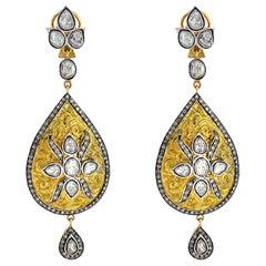 4.91 Carat Rose Cut Diamond Earrings