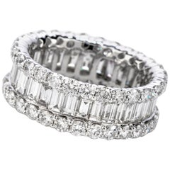 4.91 Carat Round Diamond Baguette Wide Eternity Band Ring