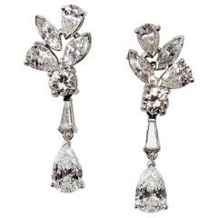 4.91 Carats Total Diamond Cluster Removable Drop Dangle Earrings VVS1-VS1 D-E