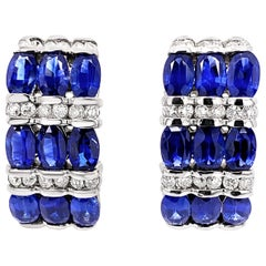 4.91 Carat 'Total Weight' Oval Sapphire and Diamond Earrings in 18K White Gold