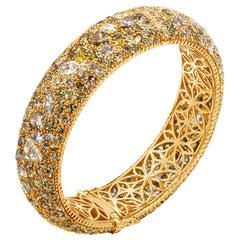 49.12 Carat Natural Fancy Color Diamond Micro Pave Domed Bangle Bracelet
