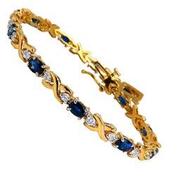 4.92 Carat Natural Blue Sapphire Diamonds Bracelet 14 Karat X-Link