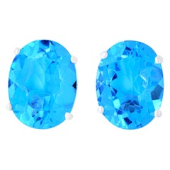 4.92 Carat Oval Blue Topaz Stud Earrings Solitaire White Gold