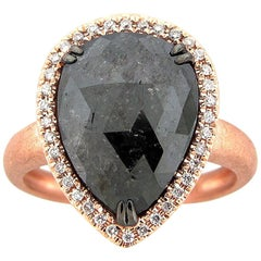 4.92 Carat Rose Cut Black and White Diamond Cocktail Ring
