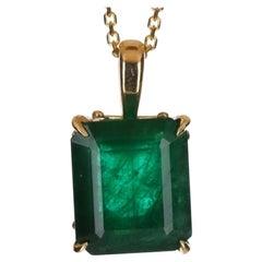 4.92-Carats 14K Solitaire Emerald, Emerald Cut Solitaire Gold Pendant