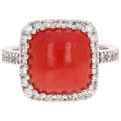 4.93 Carat Coral Diamond 14 Karat White Gold Cocktail Ring