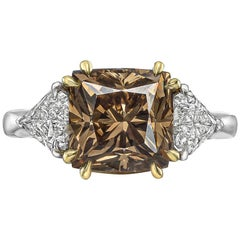 4.93 Carat Fancy Brown and White Diamond Ring