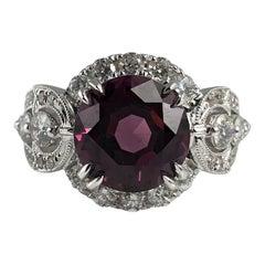 DiamondTown 4.93 Carat Round Raspberry Garnet and Diamond Ring