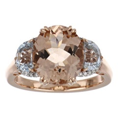 4.93 Carat Total Morganite and Aquamarine Ring with Diamonds in 14K Rose Gold