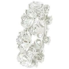 4.93 Diamond Bridal Rings 18 Karat White Gold Pear Diamonds Round Diamonds