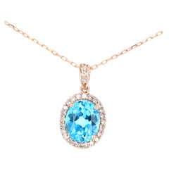 4.94 Carat Blue Topaz and Diamond 14 Karat Rose Gold Chain Pendant