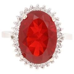 4.94 Carat Fire Opal Diamond 14 Karat White Gold Ring