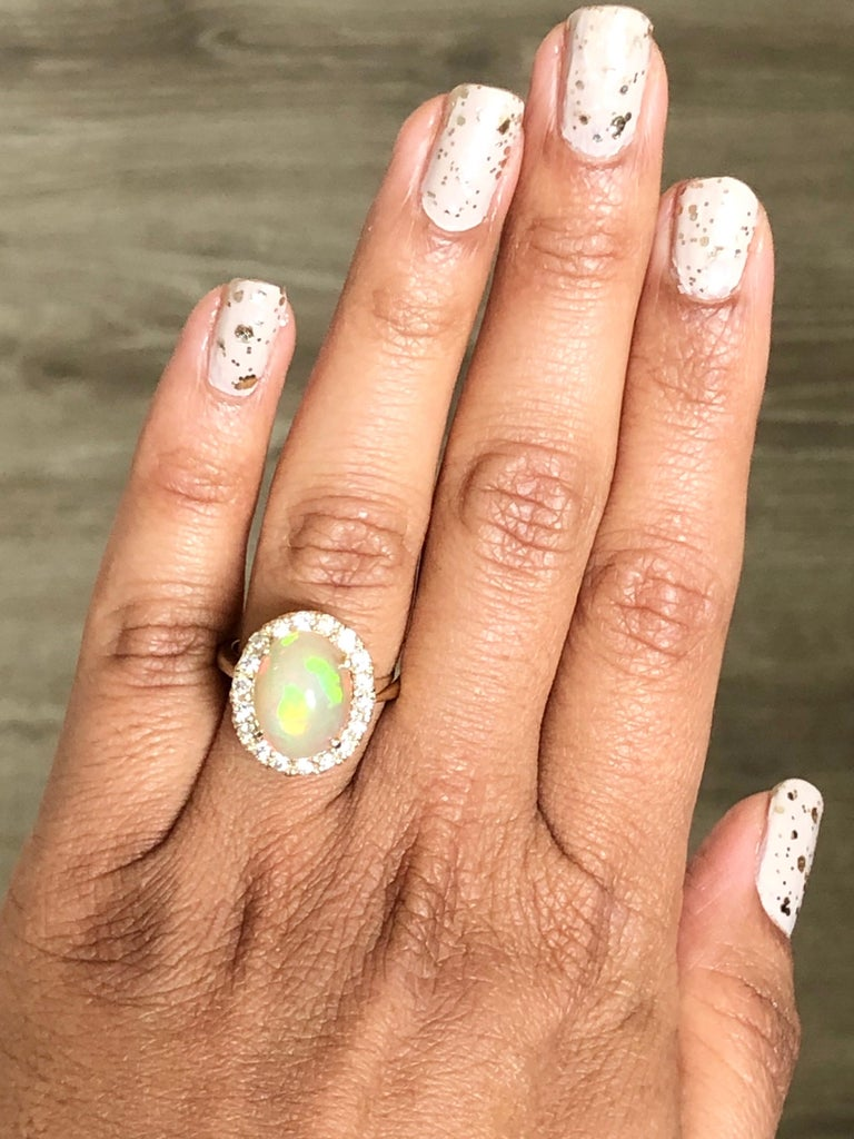 4.94 Carat Opal Diamond 14 Karat Yellow Gold Ring In New Condition In Los Angeles, CA