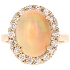 4.94 Carat Opal Diamond 14 Karat Yellow Gold Ring