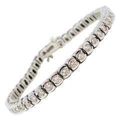 4.94 Carat Round Brilliant Bezel Set Diamond and Platinum Tennis Bracelet