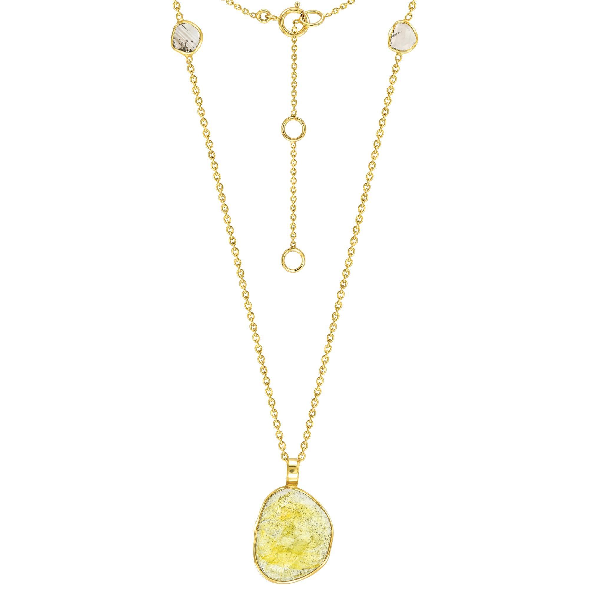 4.94 Carat Sapphire Diamond Rose Cut 18 KT Yellow Gold Pendant Necklace
