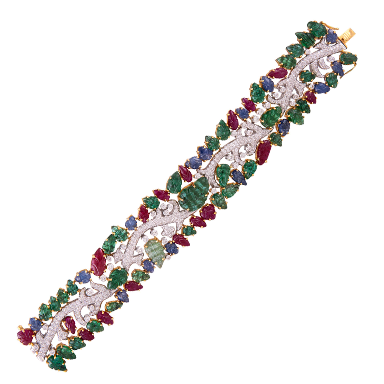 49.46 Carat Emerald Ruby Sapphire Diamond 18 Karat Yellow Gold Cuff Bracelet