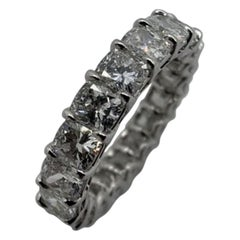 4.95 Carat Cushion Cut Diamond Eternity Band Ring