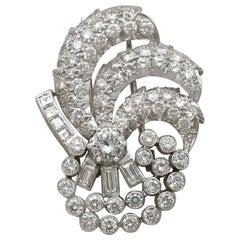 Art Deco 4.95 Carat Diamond and Platinum Brooch Circa 1940