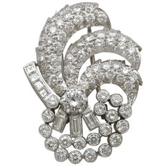 4.95 Carat Diamond and Platinum Brooch