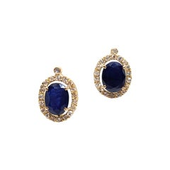 4.95 Carat Yellow Gold Diamond Sapphire Earrings