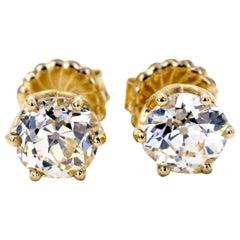 4.95 Carats Old European Cut Diamond Studs