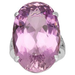 49.52 Carat Kunzite and Diamond 14 Karat White Gold One of a Kind Ring