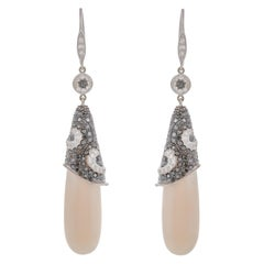 49.53 Carat White Coral Black Diamond 18 Karat White Gold Drop Earrings