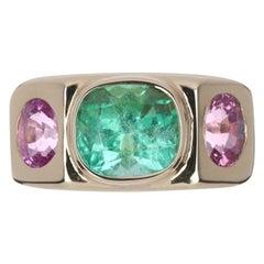 4.95tcw 14K Three Stone Colombian Emerald Cushion & Pink Sapphire Gypsy Ring