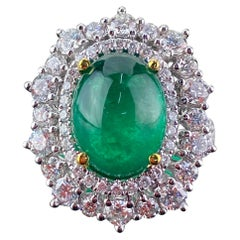 4.96 Carat Emerald Cabochon and Diamond Cocktail Ring