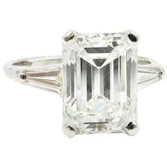 4.96 Carat Emerald Cut GIA Certified Diamond Engagement Ring Platinum