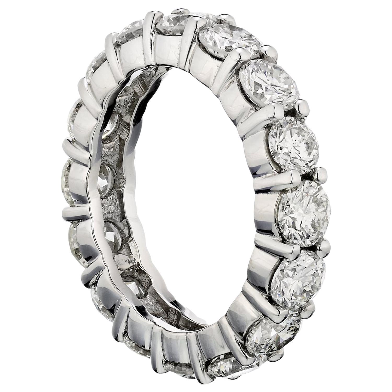 4.96 Carat Round Cut Diamond Platinum Eternity Band