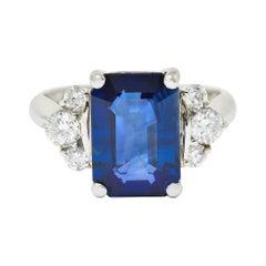 4.96 Carats Sapphire Diamond Platinum Gemstone Ring GIA