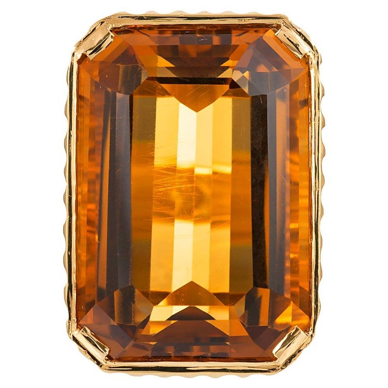 49.64 Carat Citrine and Carved Gold Ring For Sale