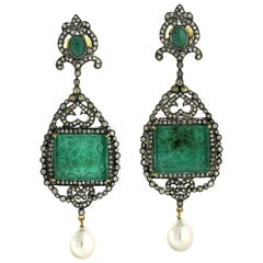 49.65 Carat Hand Carved Emerald Diamond Pearl Earrings