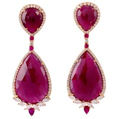 49.67 Carat Ruby Diamond 18 Karat Gold Earrings
