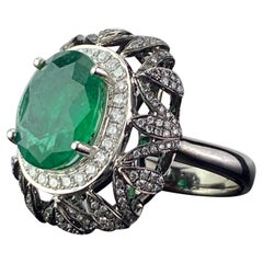 4.97 Carat Emerald and Diamond Dome Cocktail Ring