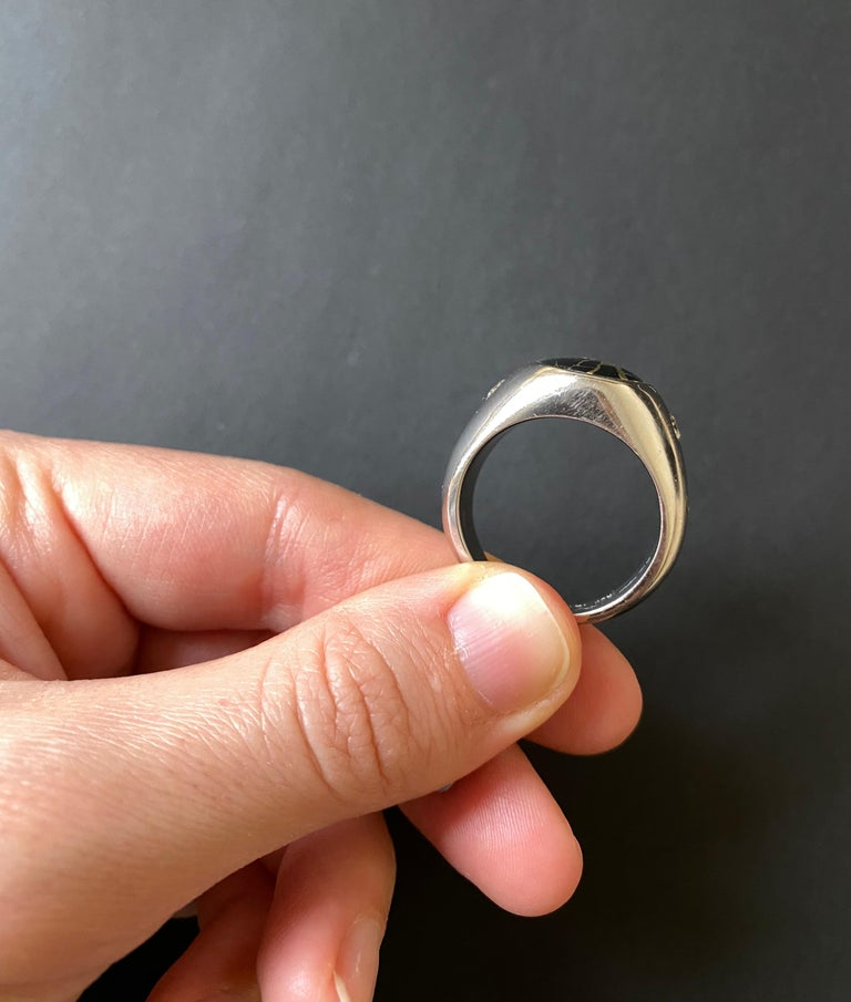 Oval Cut Black Gold in Quartz Oval Diamond Men's Gents Ring Band 14K White Bezel  For Sale