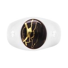 4.97 Carat Gold in Quartz and Diamond Men's Ring