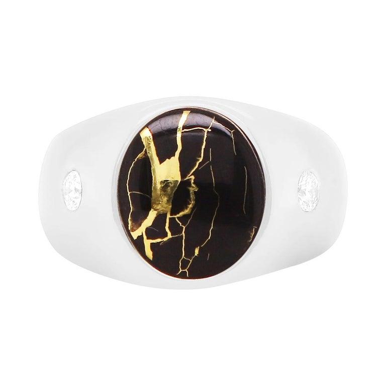 Black Gold in Quartz Oval Diamond Men's Gents Ring Band 14K White Bezel  For Sale