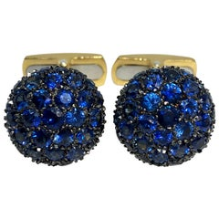 4.97 Carat Natural Blue Sapphire Black Yellow Gold T-Bar Back Cufflinks