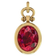 4.97 Carat Oval Cut Ruby Pendant Necklace in 14K