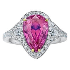 4.97 Carat Pear Shape Pink Sapphire and Diamond Platinum and 18k Ring