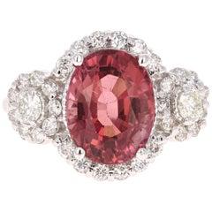 4.97 Carat Pink Tourmaline Diamond 14 Karat White Gold Ring