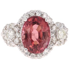 4.97 Carat Pink Tourmaline Diamond 14 Karat White Gold Ring