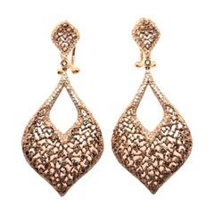 4.98 Carat Brown Diamond Chandelier Earrings