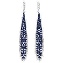 4.98 Carat Blue Sapphire Diamond 18 Karat White Gold Earrings