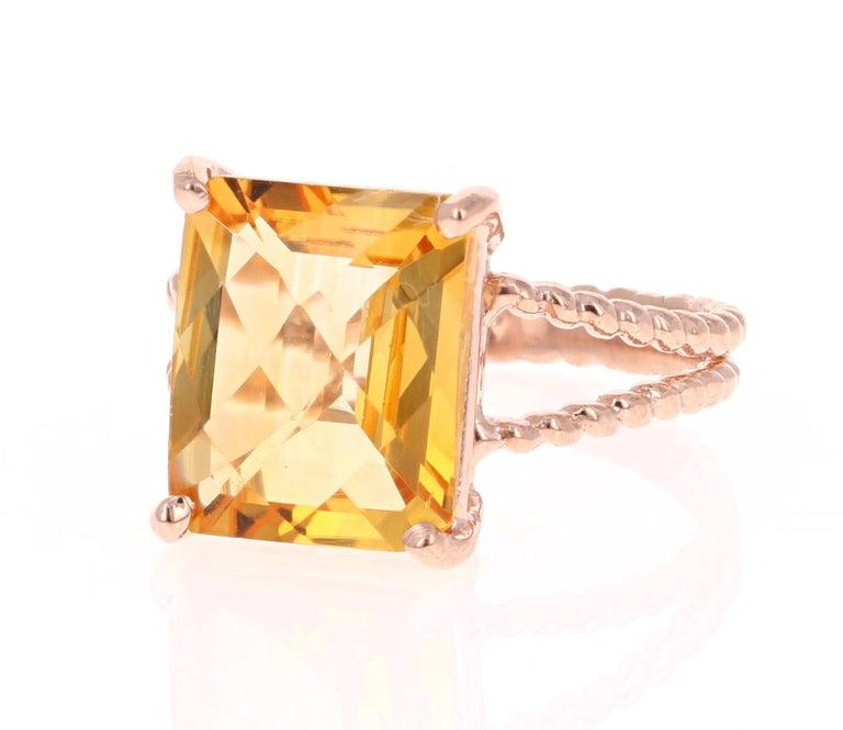 Modern 4.99 Carat Emerald Cut Citrine Quartz Rose Gold Ring
