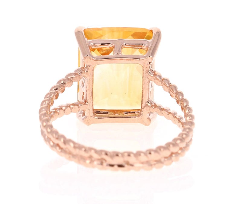 Cushion Cut 4.99 Carat Emerald Cut Citrine Quartz Rose Gold Ring