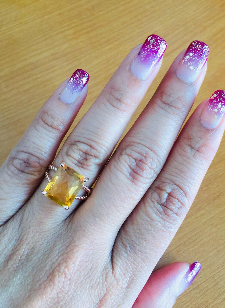 4.99 Carat Emerald Cut Citrine Quartz Rose Gold Ring In New Condition In San Dimas, CA